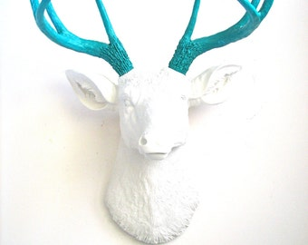 WHITE-TEAL Faux Taxidermy Deer Head Wall Mount Wall Hanging Home Decor:  Deerman the Deer Head in white head with teal antlers