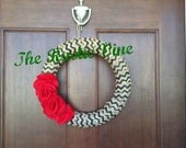 Chevron Burlap Christmas Holiday Wreath 14 inch Diameter Felt Hand made Flowers Red Black Decorations Mantle Front Door
