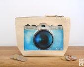 Camera Canvas Zip Purse, Makeup Bag, Coin Purse, Small Accessory Pouch