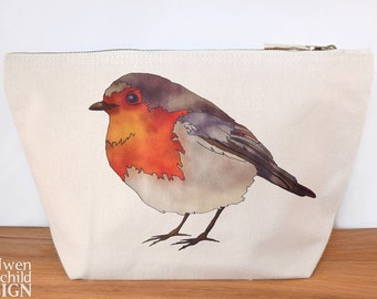 Robin Canvas Wash Bag, Large Zipper Pouch, Makeup Bag, Toiletry Bag, Accessory Bag