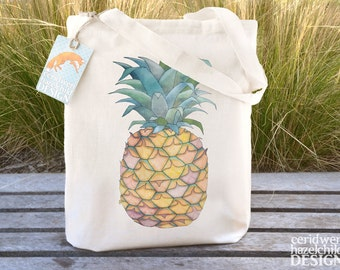 Pineapple Tote Bag, Ethically Produced Reusable Shopper Bag, Farmers Market Bag, Cotton Tote, Shopping Bag, Eco Tote, Reusable Grocery Bag