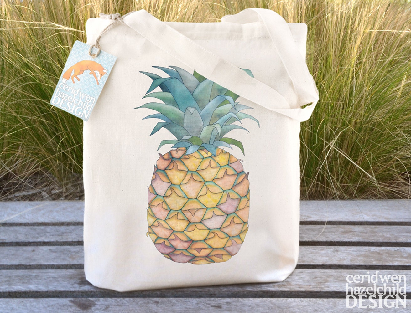 Pineapple Tote Bag Ethically Produced Reusable Shopper Bag