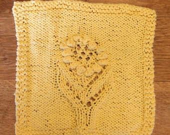 hand knit sunflower wash cloth