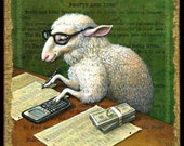 Year of the Sheep art print, Counting Sheep: Animal with eye glasses, calculator, funny money, ledger paper. Chinese New Year, geek gift