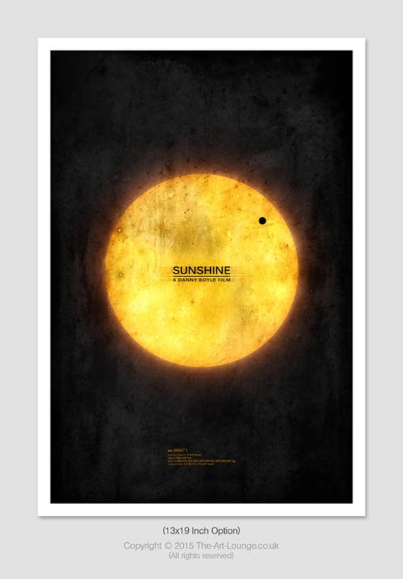 Sci Fi Movie Poster, Sunshine Poster, Sci Fi Wall Art, Space Poster, Sci Fi Movie Print, Science Fiction Art, Abstract Movie Print, 13x19