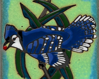 Blue Jay Ceramic Tile hot plate wall decor install, hand painted