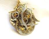 vintage Spain  toledo damascene ship sail boat fregate gold tones maritime seafair