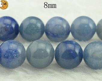 15 inch strand of Blue Aventurine smooth round beads 8 mm