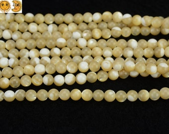 15 inch strand of yellow MOP,mother of pearl smooth round beads 4 mm