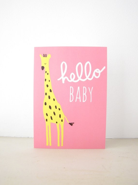 Hello Baby Greeting Card, Blank Notecard Stationery, welcome new baby, girl baby shower, pink giraffe, jungle safari animal illustration