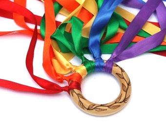 Personalized Toys - Montessori Toy - Hand Kite - Waldorf Toys - Fairy Wand - Wooden Toy - Rainbow