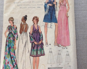 Butterick pattern 6228 from 1970's, halter back dress and shawl.