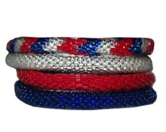 Red,Silver,Cobalt Blue Handmade Bracelets Set, Seed Beads,Nepal,BS300