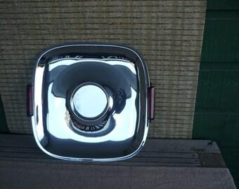 Vintage GloHill Mid Century Modern Chrome Serving Tray, Bakelite Handles, Appetizer Tray