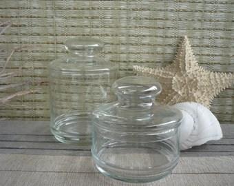 Set of 2 Vintage Apothecary Jars, Glass Display Jars, Cottage Decor, Shabby Chic