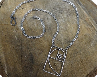 Silver Fibonacci Spiral Necklace