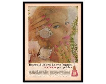Cutex Nail Polish Ad, 1960s Beauty Ad, Magazine Print Ad, 1960 Cutex Ad, Pearl Nail Polish, Pink Nail Polish Ad, Fish, Blue Bell Clothes Ad