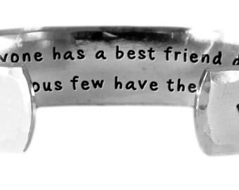 "Everyone has a best friend during each stage of life...few have the same one. - Hand Stamped Aluminum Cuff Bracelet 1/2"" x 6"" by Lulaport"