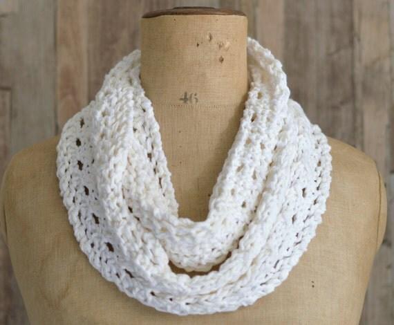KNITTING PATTERN Lace Scarf Simple Knit Pattern Infinity Scarf Instant Digita...
