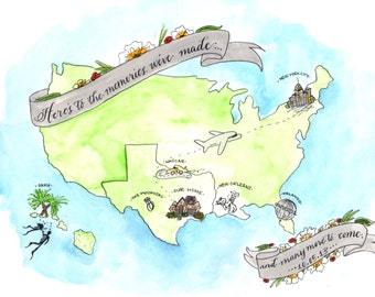 Custom Wedding Map. Hand painted Watercolor Map with Personalized Illustrations by Calligrapher