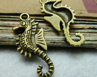 50PCS antique bronze 13x28mm sea horse charm pendant- W7797