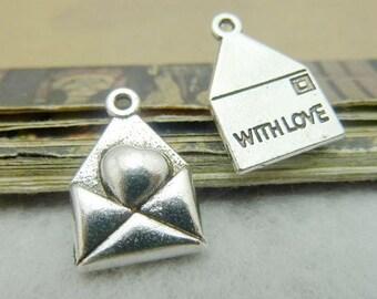 50PCS heart envelope with love charm pendant, antique bronze or antique silver, 12x18mm