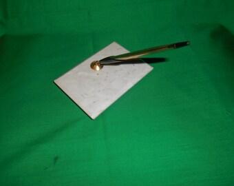 One (1), Marble, Desk Top Pen Holder, from Cross Pen Co., with a Cross Pen.