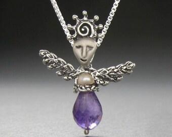 Amethyst Sun Angel w pearl necklace Angel handmade in USA