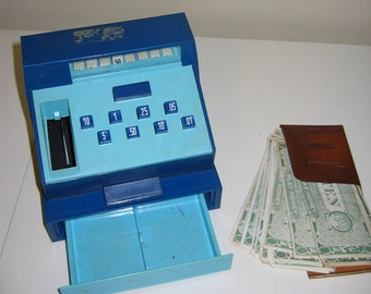 Vintage Geobra Toy Cash Register with HUNKY DORY Play Money from the 1970s