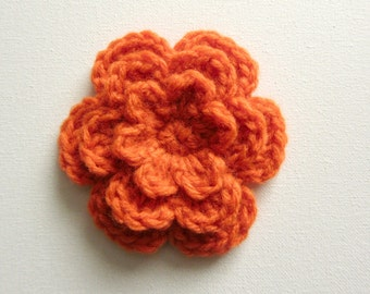 "1pc 4"" Crochet ORANGE Three-Layer Flower Applique"