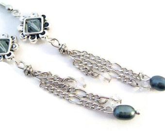 Price reduced Sale Black Pearl Earrings dangle & drop Swarovski crystal chain pearl hypoallergenic pierced earrings