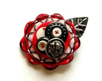 Felt Flower Pin Brooch for Women Jewelry Re-purposed Red White Black Grey