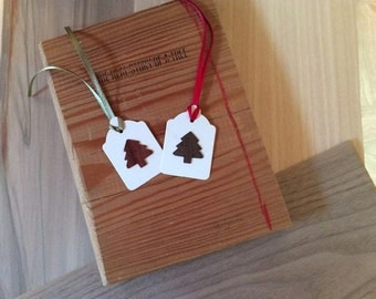gift tags with wood tree shape