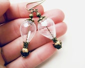 Hot Air Balloon Earring. Hand Blown Glass White Steampunk Wedding Jewelry with White Hollow Glass Bead. Victorian Antique Bronze Earrings.