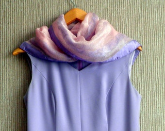 "20 Euro off now, Vintage Size12 Lilac 80's Dress and chiffon scarf, 4"" kick pleats,Sleeveless, v-neck slightly flared."
