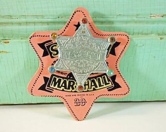 Vintage Metal Toy Marshal Badge on Card