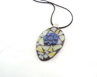 Spoon Jewelry, Mosaic Blue Flower Jewelry, Art Pendant, Victorian Mosaic Pendant, Gothic, Stained Glass Pendant, Yellow and Blue Necklace