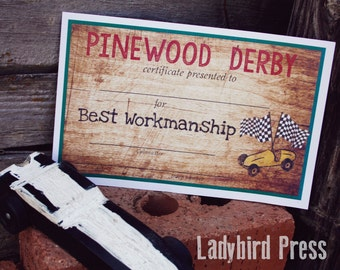Printable Pinewood Derby Certificates - Cub Scout  - Pinewood Derby - Award - Pack Meeting - Instant Download - PDF
