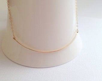 Gold Fill Curved Bar Necklace, Hammered Pendant, Bar Necklace,Hand Forged, Minimalist