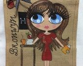 Handpainted Personalised Best Teacher Jute Handbag Gift Present Celebrity Style Bag