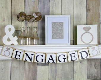 Engaged Banner, Engagment Banner, Engagement Bunting, Bridal Shower Banner, Engagement Prop
