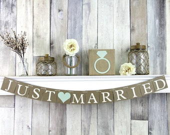 Just Married Banner, Rustic Wedding Decor, Just Married Sign, Mint Wedding Decor, Rustic Wedding Sign