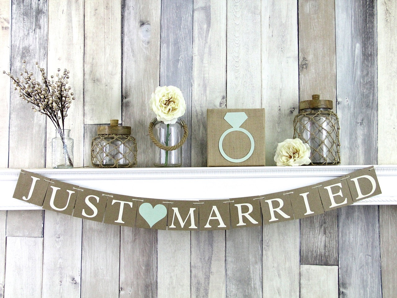 Just married banner rustic wedding decor just married sign for Just married dekoration