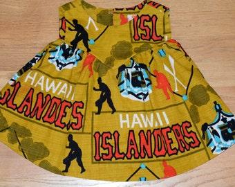 Adorable vintage bark cloth 1960's Hawaiian Islanders baby dress