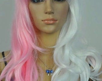 Mercy // Pink and White 2tone Full Synthetic Wig