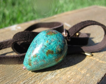 African Turquosie and Leather Teardrop Necklace- Dark Brown leather cord