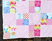 Pink baby quilt, Ready to ship quilt, one of a kind quilt, baby shower gift, floral baby quilt
