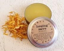 HEALING SALVE -  All Natural Salve - Cuticle Cream - Solid Lotion - Organic Shea Butter Salve - Reusable Tin