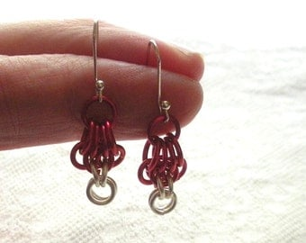 Red and Silver Chain Mail Earrings, Chainmaille Jewelry, Artisan Ear Wires, Butterfly Weave, Valentine Gift, Valentine's Day Present
