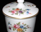 Minton England Jam Jar Cruet Marlow Floral Marmalade 1970s English Bone China